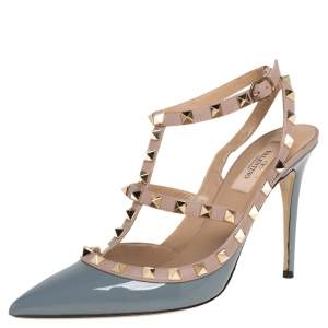 Valentino Blue/Beige Patent Leather Rockstud Ankle Strap Sandals Size 39