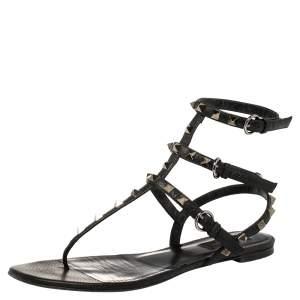 Valentino Black Leather Rockstud Thong Flat Sandals Size 40