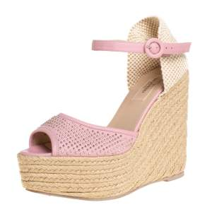Valentino Pink Leather And Canvas Studded Wedge Espadrille Sandals Size 38
