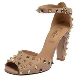 Valentino Beige Leather Allover Rockstud Ankle Strap Sandals Size 37