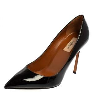 Valentino Black Patent Leather Pointed Toe Pumps Size 40
