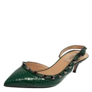 Valentino Green Python Rockstud Slingback Sandals Size 36