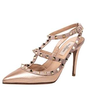 Valentino Metallic Gold Leather Rockstud Caged Pumps Size 36