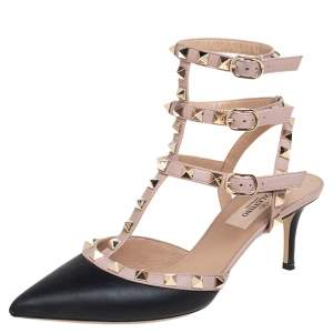 Valentino Black/Beige Leather Rockstud Sandals Size 36