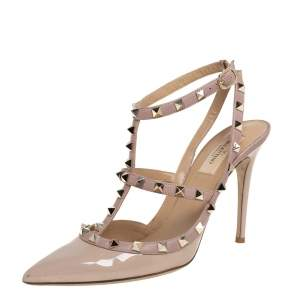 Valentino Beige Patent And Leather Rockstud Ankle Strap Sandals Size 39.5