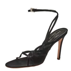 Valentino Black Satin Ankle Strap Sandals Size 39