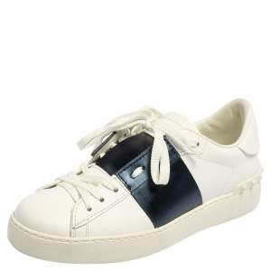 Valentino White Blue Leather Low Top Sneakers Size 36