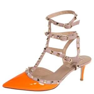 Valentino Orange Patent Leather Rockstud Ankle Strap Sandals Size 38.5