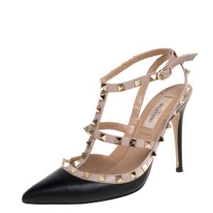 Valentino Beige/Black Leather Rockstud Pointed Toe Sandals Size 38