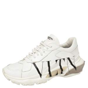 Valentino White Leather VLTN Bounce Sneakers Size 39
