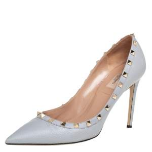 Valentino Grey Leather Rockstud Pumps Size 41