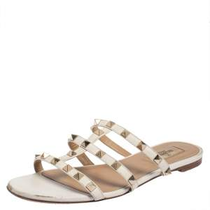 Valentino Off White Leather Rockstud Flat Sandals Size 37.5