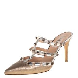 Valentino Metalic Gold Leather Rockstud  Sandals 36
