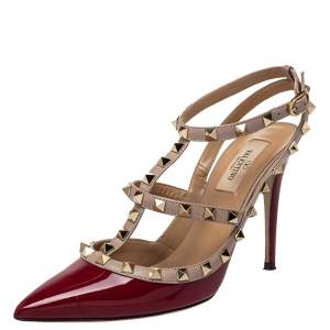Valentino Burgundy Patent Leather Rockstud Ankle Strap Sandals Size 38.5