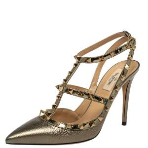 Valentino Metallic Bronze Leather Rockstud Ankle Strap Sandals Size 40.5