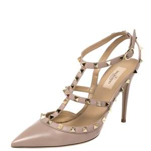 Valentino Beige Leather Rockstud Pointed Toe Ankle Strap Sandals Size 40