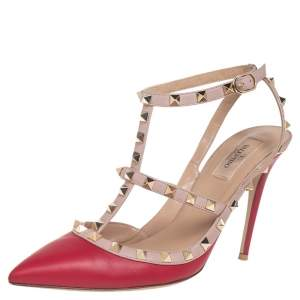 Valentino Red/Beige Leather Rockstud  Ankle Strap Pumps Size 41