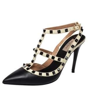 Valentino Black/White  Leather Rockstud Ankle Strap Sandals Size 40.5