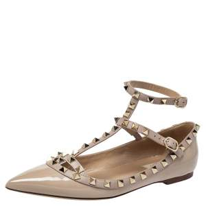 Valentino Beige Patent Leather Rockstud Ballet Flats Size 38.5