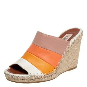 Valentino Multicolor Leather Wedge Sandals Size 38