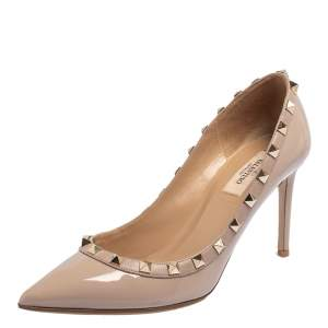 Valentino Beige Patent Leather Rockstud Pointed Toe Pumps Size 38.5
