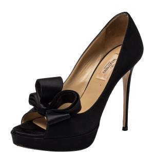 Valentino Black Satin Bow Platform Pumps Size 36.5