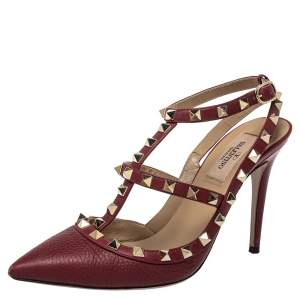 Valentino Red Leather Rockstud Ankle Strap Sandals Size 37