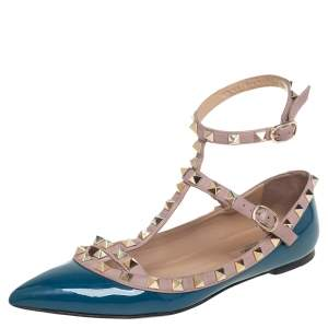 Valentino Blue/Beige Patent Leather Rockstud Ankle Strap Flat Sandals Size 36.5