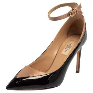 Valentino Black/Beige Patent Leather And Satin Ankle Strap Pumps Size 38