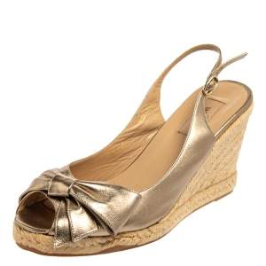 Valentino Metallic Gold Leather Mena Bow Slingback Espadrilles Wedges Size 41