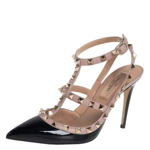 Valentino Black/Beige Patent Leather And Leather Rockstud  Ankle Strap Sandals Size 35.5
