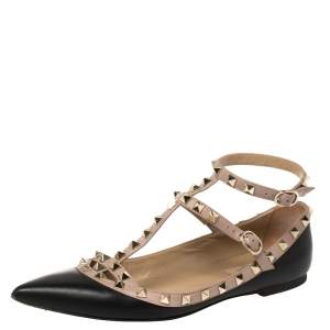 Valentino Black Leather Rockstud Caged Ballet Flats Size 38.5