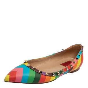 Valentino Multicolor Leather Rockstud Pointed Toe Flats Size 39.5