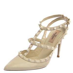 Valentino Off White Leather Rockstud Pointed Toe Ankle Strap Sandals Size 37.5