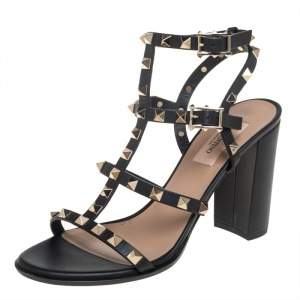 Valentino Black Leather Rockstud Strappy Sandals Size 38