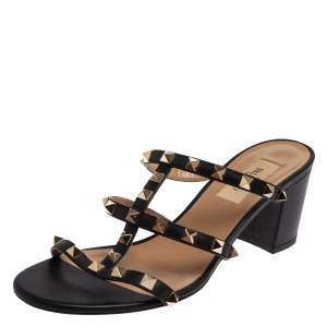 Valentino Black Leather Rockstud Open Toe Slide Sandals Size 38