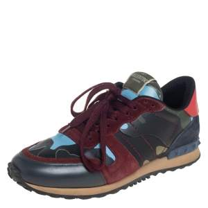 Valentino Multicolor Leather And Suede Camouflage Rockrunner Low Top Sneakers Size 39