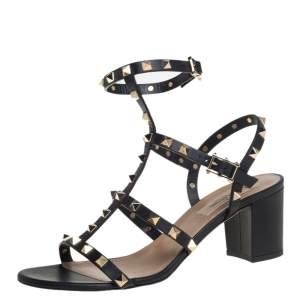 Valentino Black Leather Rockstud Ankle Strap Block Heel Cage Sandals Size 39