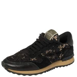 Valentino Black Suede And Lace Rockrunner Low Top Sneakers Size 37.5