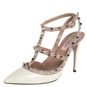 Valentino Cream/Beige Patent Leather Rockstud Ankle Strap Sandals Size 38