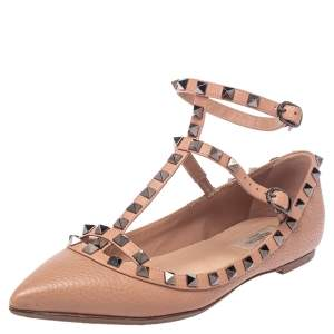 Valentino Beige Leather Rockstud Ankle Strap Pointed Toe Flats Size 39