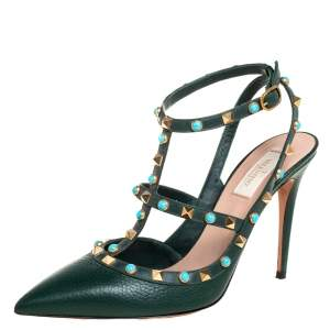 Valentino Green Leather Rockstud Ankle Strap Pumps Size 41