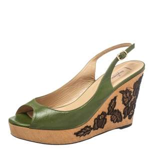 Valentino Green Leather Wedge Slingback  Sandals Size 40