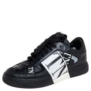 Valentino Black Suede And Leather VL7N Low Top Sneakers Size 38