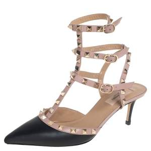 Valentino Black/Pink Leather Rockstud Ankle Strap Pointed Toe Sandals Size 38.5