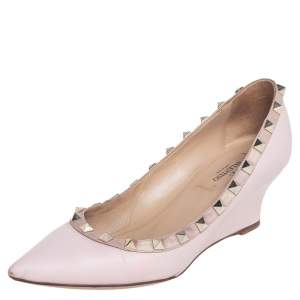 Valentino Blush Pink Leather Rockstud Wedge Pumps Size 36
