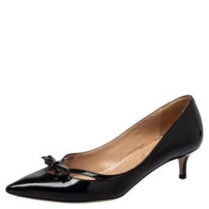 حذاء كعب عالي فالنتينو جلد أسود لامع مقاس 36.5