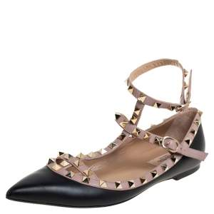 حذاء فلات باليه فالنتينو مرصع روكستد و سير كاحل جلد أسود مقاس 38.5