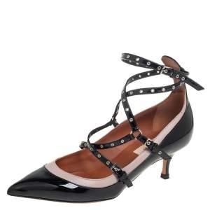 حذاء كعب عالي فالنتينو مقدمة مدببة سير حلقة جلد وجلد لامع وردي/ أسود مقاس 36
