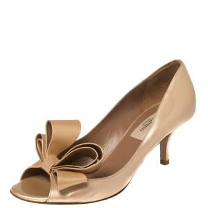 Valentino Beige Patent Leather Bow Accents Pumps Size 36